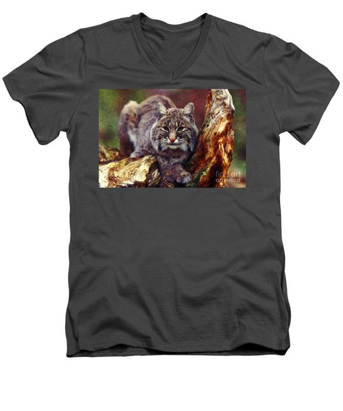 Men's V-Neck T-Shirt featuring the digital art Here Kitty Kitty by Lianne Schneider
