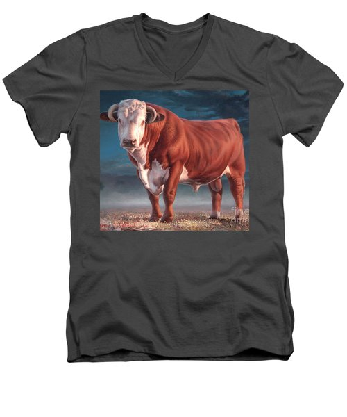 Hereford Bull Men's V-Neck T-Shirt