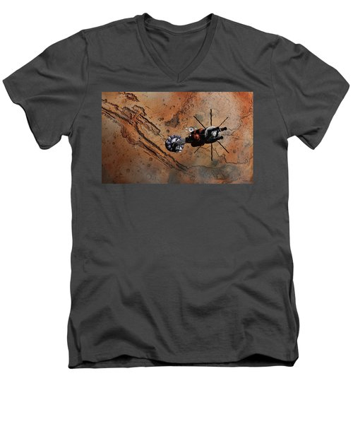 Hermes1 With The Mars Lander Ares1 In Sight Men's V-Neck T-Shirt by David Robinson