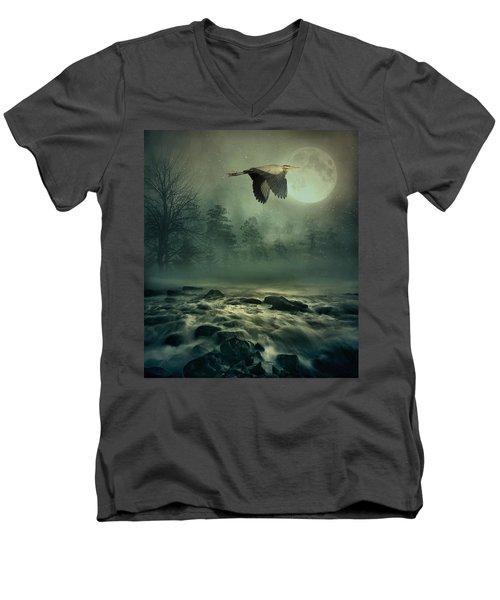 Heron By Moonlight Men's V-Neck T-Shirt