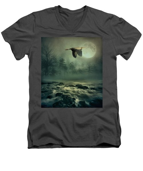 Heron By Moonlight Men's V-Neck T-Shirt