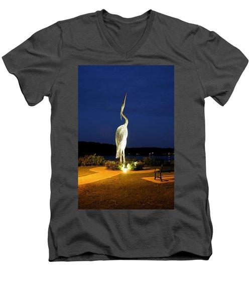 Heron On Mill Pond Men's V-Neck T-Shirt