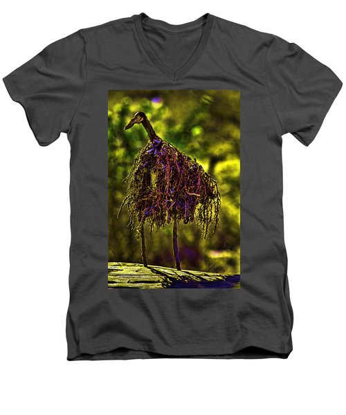 Men's V-Neck T-Shirt featuring the photograph Heron Totem by Gary Holmes