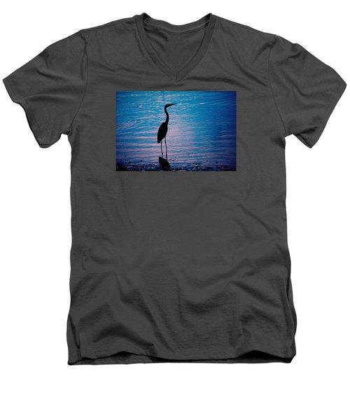Herons Moment Men's V-Neck T-Shirt by Karol Livote
