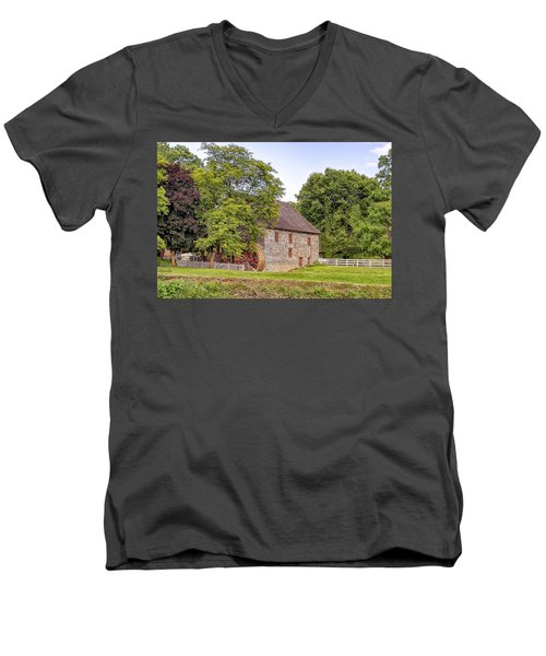 Men's V-Neck T-Shirt featuring the photograph Herr's Mill by Jim Thompson