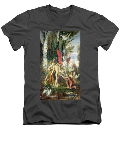 Hesiod And The Muses Men's V-Neck T-Shirt by Gustave Moreau
