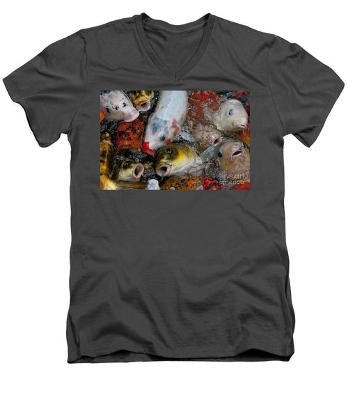 Men's V-Neck T-Shirt featuring the photograph Hey Whats Happening by Wilma  Birdwell
