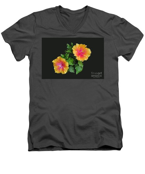 Men's V-Neck T-Shirt featuring the photograph Hibiscus Duo by Susan Wiedmann