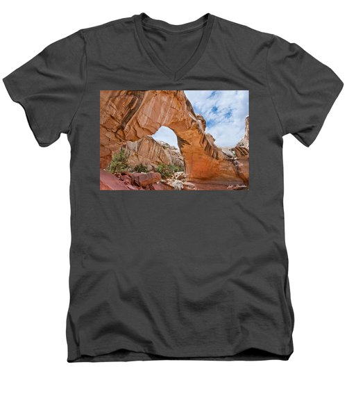Hickman Bridge Natural Arch Men's V-Neck T-Shirt by Jeff Goulden