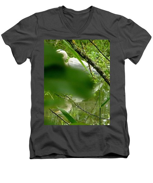 Men's V-Neck T-Shirt featuring the photograph Hidden Bird White by Susan Garren