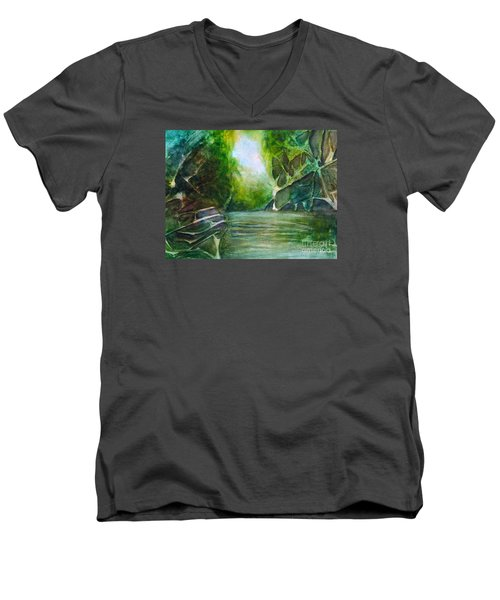 Men's V-Neck T-Shirt featuring the painting Hidden Green by Allison Ashton
