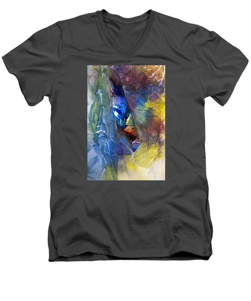 Men's V-Neck T-Shirt featuring the painting Hidden Light by Allison Ashton