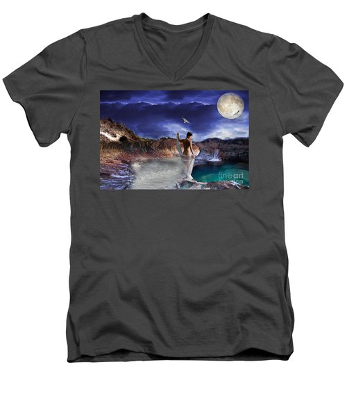 Men's V-Neck T-Shirt featuring the digital art Hidden River by Liane Wright