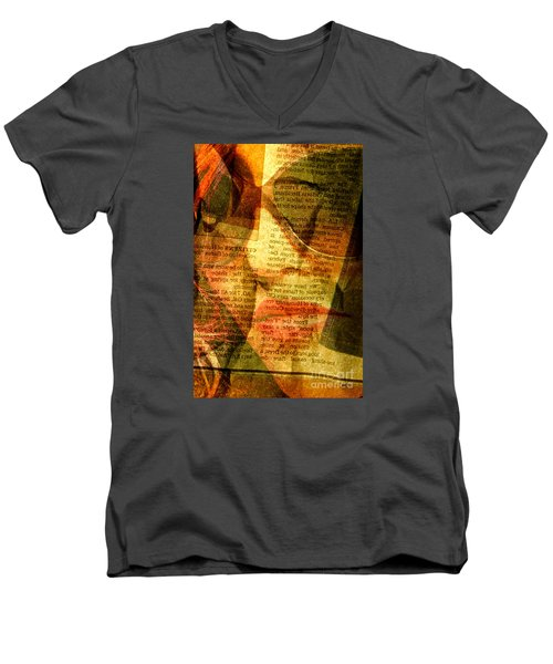 Hiding From The News Men's V-Neck T-Shirt by Michael Cinnamond