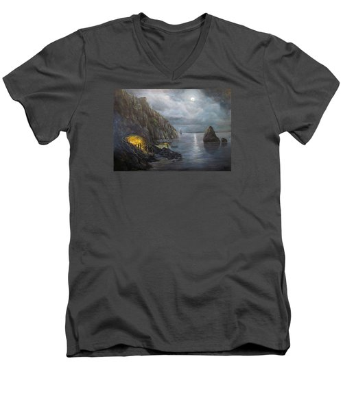 Hiding Treasure Men's V-Neck T-Shirt by Donna Tucker