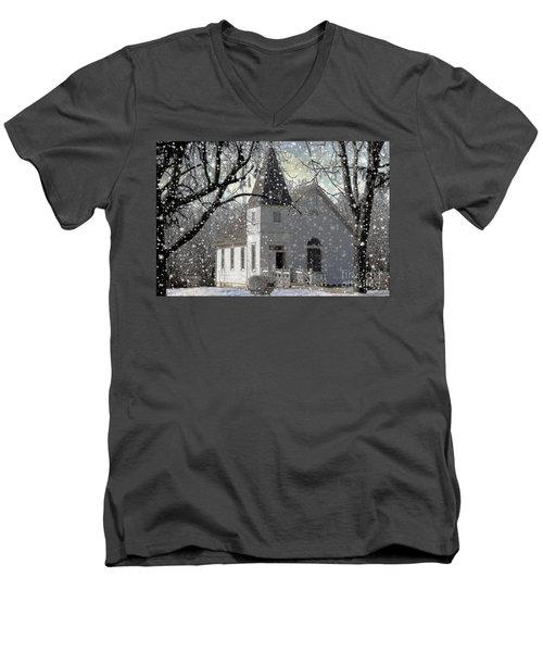 Higgensville Church Men's V-Neck T-Shirt by Liane Wright