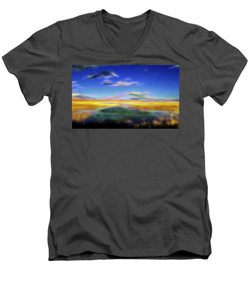 High Desert Lake Men's V-Neck T-Shirt by William Horden