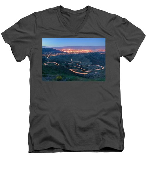 Highway 74 Palm Desert Ca Vista Point Light Painting Men's V-Neck T-Shirt