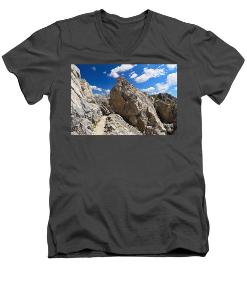 hike in Dolomites Men's V-Neck T-Shirt