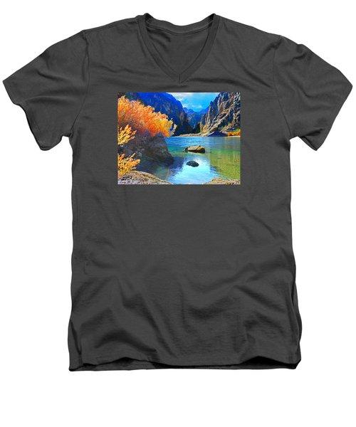 Hikers Haven Two Men's V-Neck T-Shirt by Alan Socolik