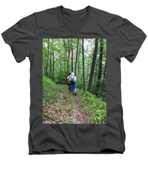 Hiking Group Men's V-Neck T-Shirt by Melinda Fawver