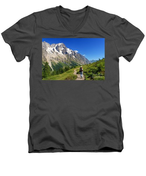 Men's V-Neck T-Shirt featuring the photograph hiking in Ferret Valley by Antonio Scarpi