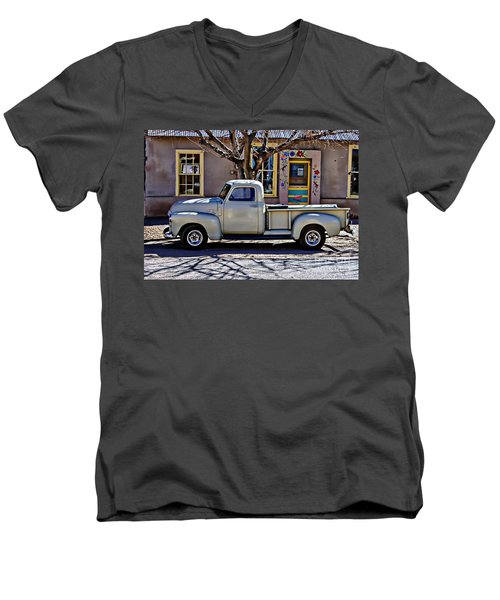 Men's V-Neck T-Shirt featuring the painting Hillsboro New Mexico 1949 Gmc 100 by Barbara Chichester