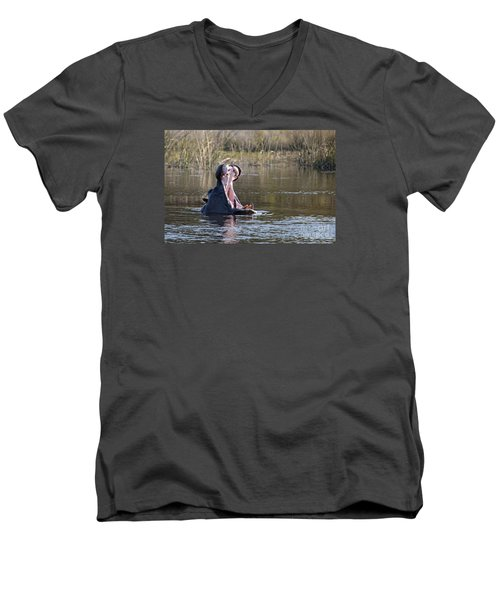 Men's V-Neck T-Shirt featuring the photograph Hippo Yawning by Liz Leyden