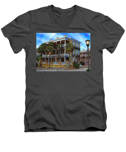 Men's V-Neck T-Shirt featuring the photograph Historic Charleston Mansion by Kathy Baccari