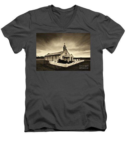 Historic Old Adobe Spanish Style Catholic Church San Ysidro New Mexico Men's V-Neck T-Shirt by Jerry Cowart