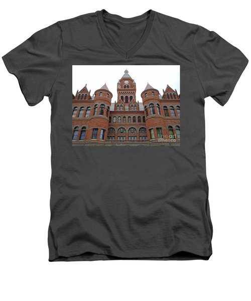 Men's V-Neck T-Shirt featuring the photograph Historic Old Red Courthouse Dallas #1 by Robert ONeil