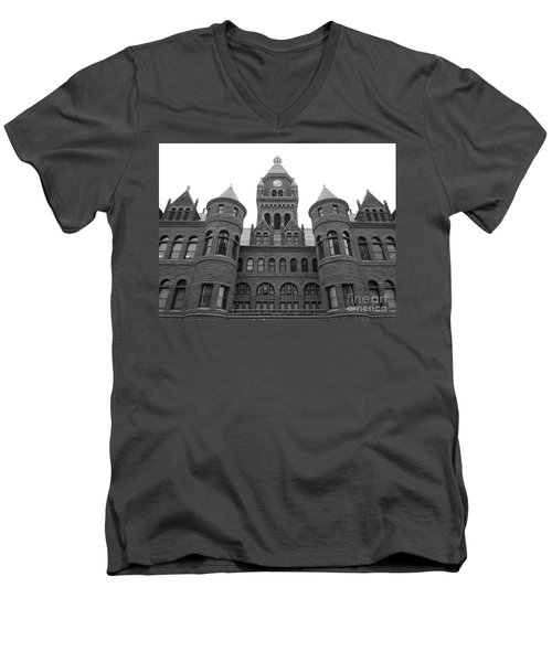 Men's V-Neck T-Shirt featuring the photograph Historic Old Red Courthouse Dallas #2 by Robert ONeil
