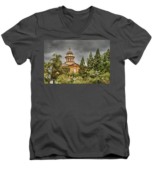 Men's V-Neck T-Shirt featuring the photograph Historic Placer County Courthouse by Jim Thompson