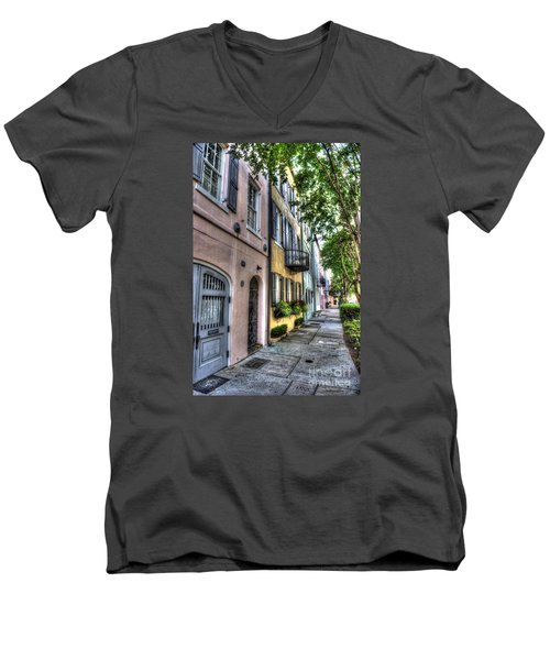 Historic Rainbow Row Men's V-Neck T-Shirt