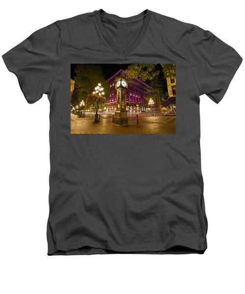 Men's V-Neck T-Shirt featuring the photograph Historic Steam Clock In Gastown Vancouver Bc by JPLDesigns