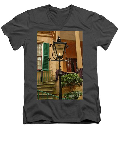 Historical Gas Light Men's V-Neck T-Shirt by Patrick Shupert