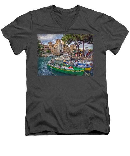 History At Lake Garda Men's V-Neck T-Shirt by Hanny Heim