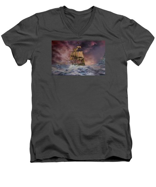 Men's V-Neck T-Shirt featuring the painting H.m.s Victory by Jean Walker