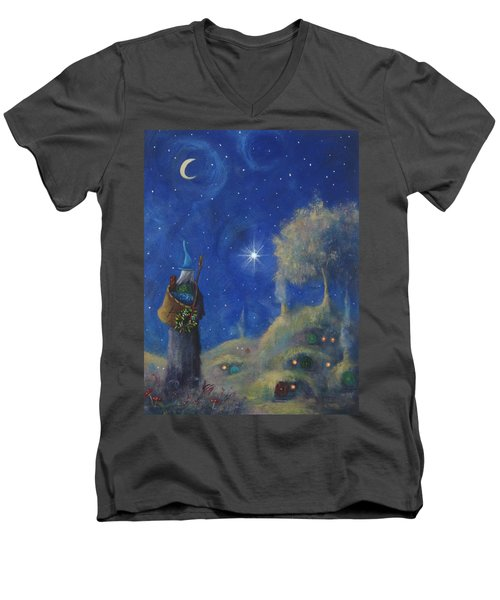Hobbiton Christmas Eve Men's V-Neck T-Shirt by Joe Gilronan