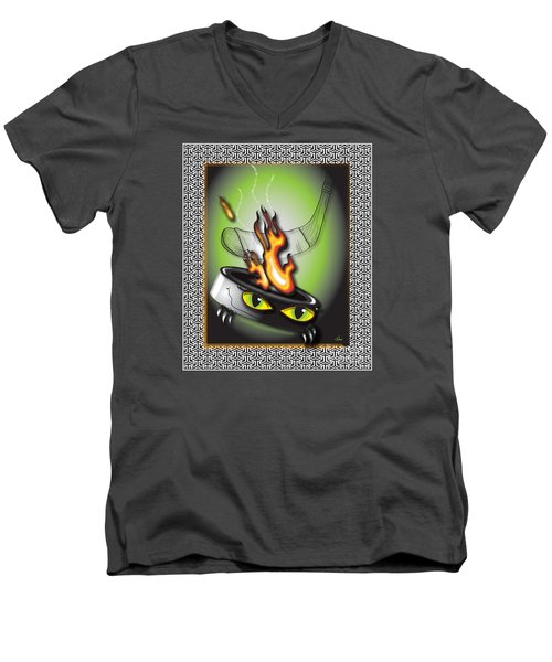 Hockey Puck In Flames Men's V-Neck T-Shirt