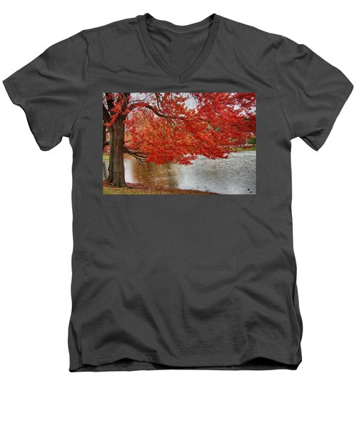 Men's V-Neck T-Shirt featuring the photograph Holding Our Bright Red Joy by Jeff Folger