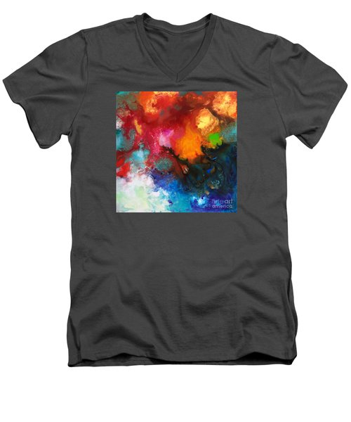 Holding The High Watch Canvas Three Men's V-Neck T-Shirt by Sally Trace