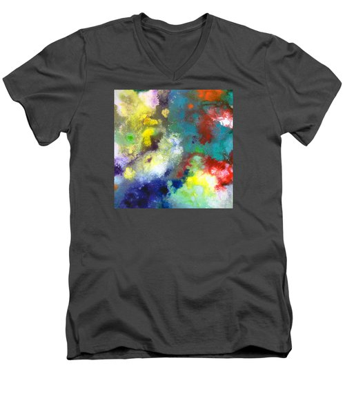 Holding The High Watch Canvas Two Men's V-Neck T-Shirt by Sally Trace
