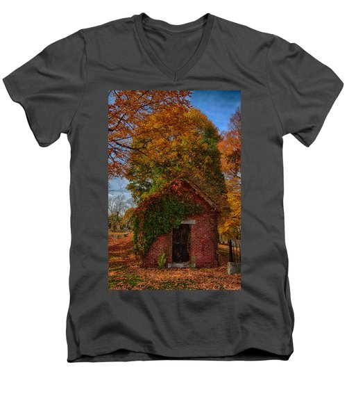 Men's V-Neck T-Shirt featuring the photograph Holding Up The  Fall Colors by Jeff Folger