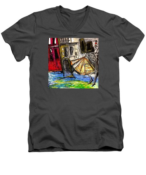 Holiday In Venice Men's V-Neck T-Shirt by Helen Syron