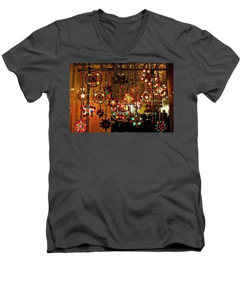 Men's V-Neck T-Shirt featuring the photograph Holiday Lights by Suzanne Stout