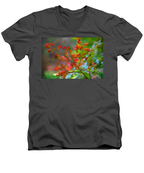 Holly Berry Men's V-Neck T-Shirt by Bonnie Willis