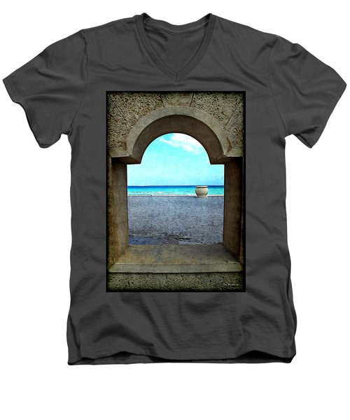 Hollywood Beach Arch Men's V-Neck T-Shirt by Joan  Minchak