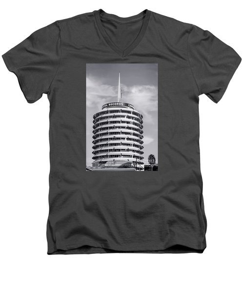 Hollywood Landmarks - Capital Records Men's V-Neck T-Shirt by Art Block Collections