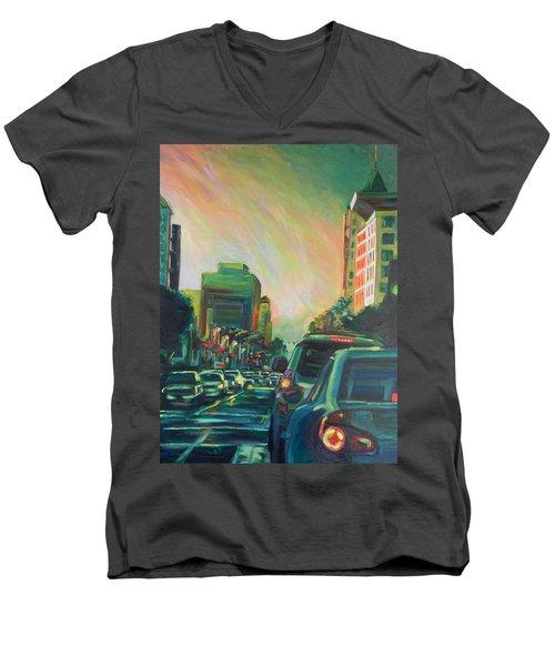 Hollywood Sunshower Men's V-Neck T-Shirt by Bonnie Lambert